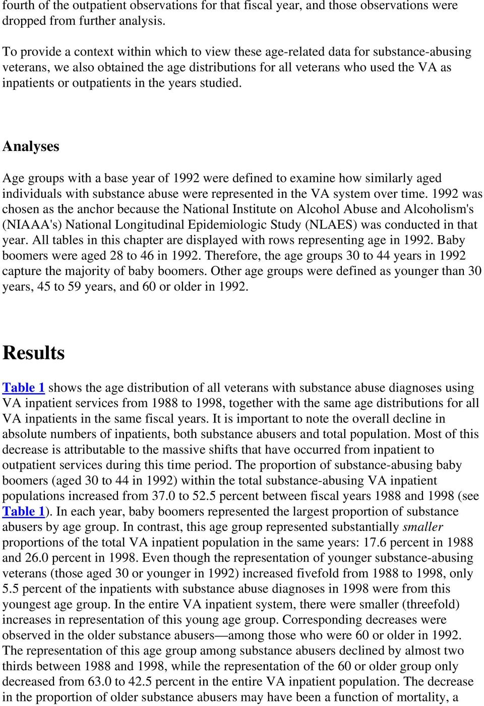 in the years studied. Analyses Age groups with a base year of 1992 were defined to examine how similarly aged individuals with substance abuse were represented in the VA system over time.