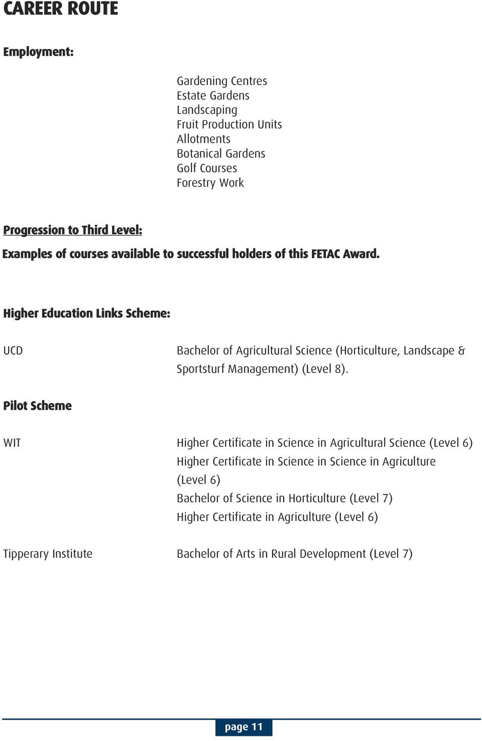Higher Education Links Scheme: UCD Bachelor of Agricultural Science (Horticulture, Landscape & Sportsturf Management) (Level 8).