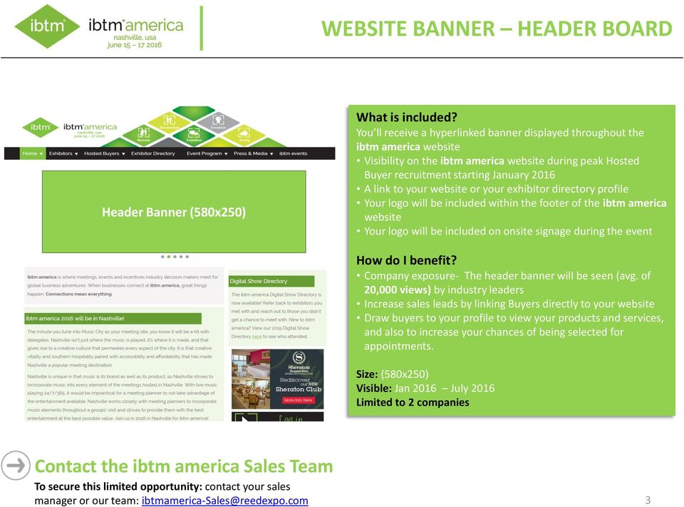 website Company exposure- The header banner will be seen (avg.