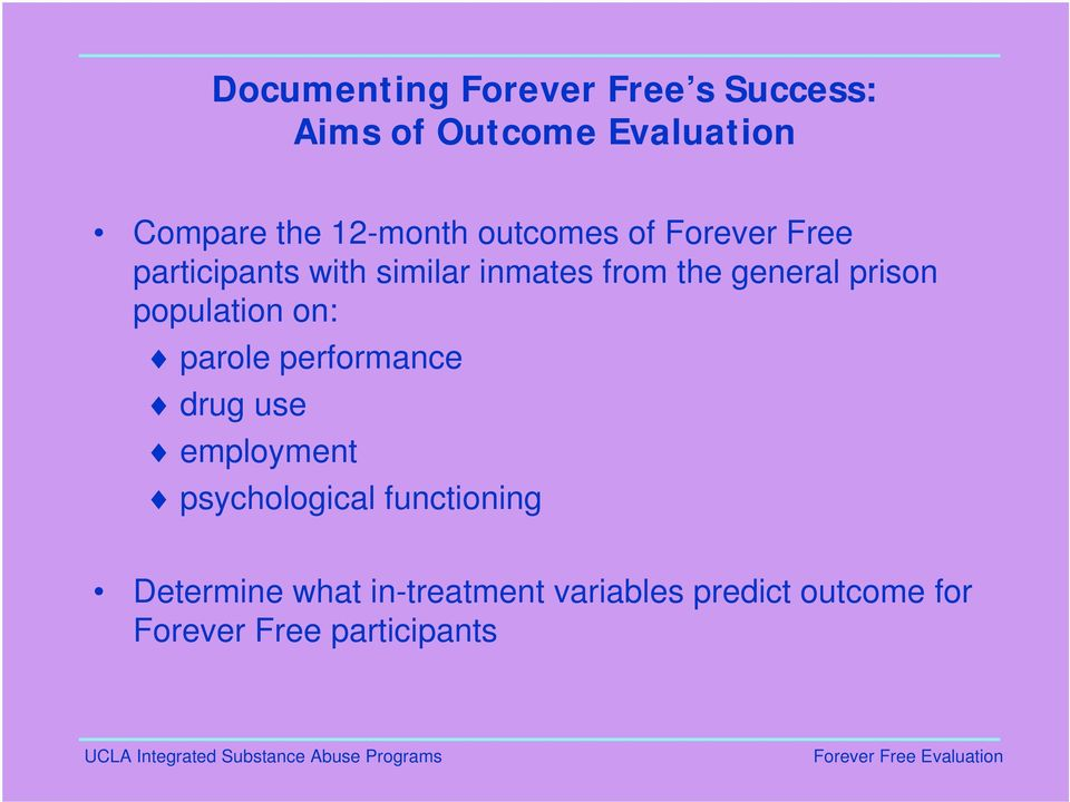 general prison population on: parole performance drug use employment psychological