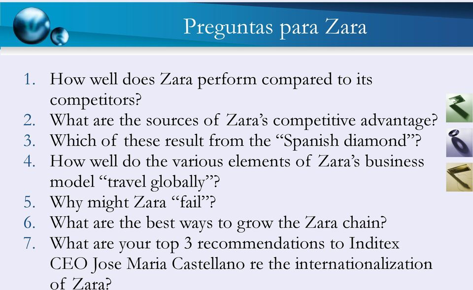 How well do the various elements of Zara s business model travel globally? 5. Why might Zara fail? 6.
