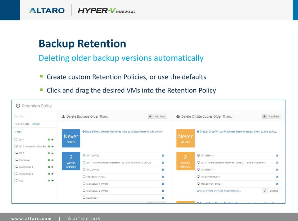desired VMs into the Retention Policy Local Backups & Offsite Copies