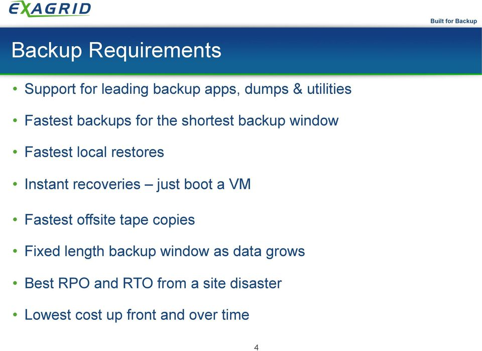 recoveries just boot a VM Fastest offsite tape copies Fixed length backup