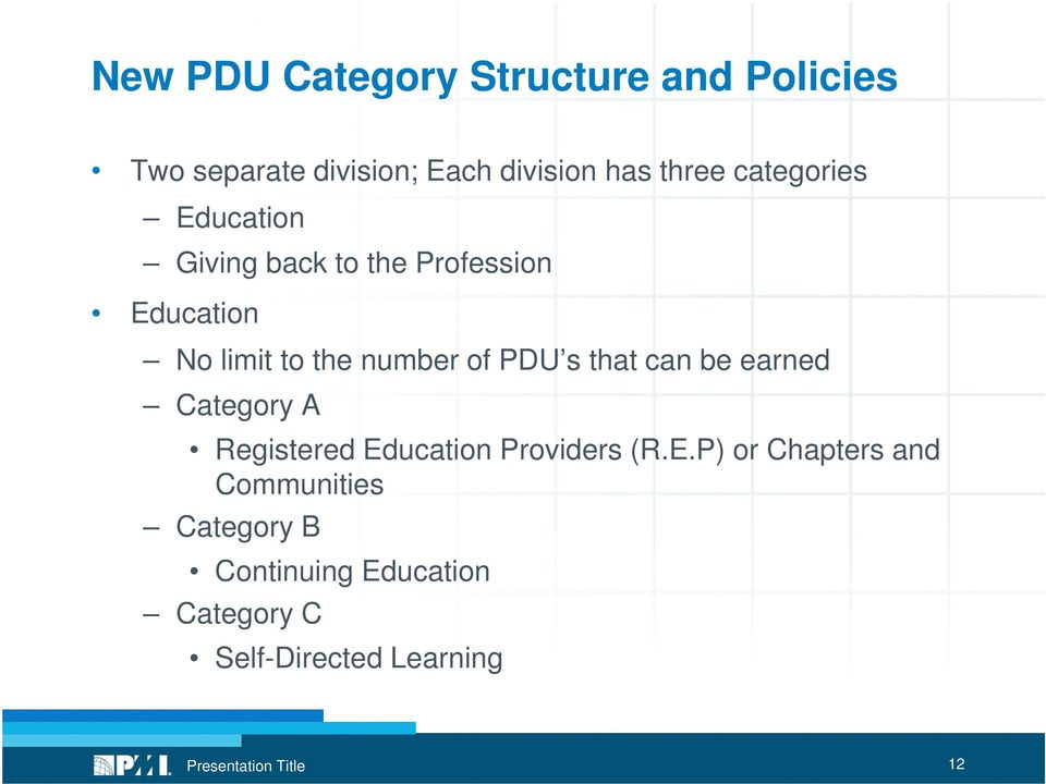 PDU s that can be earned Category A Registered Ed