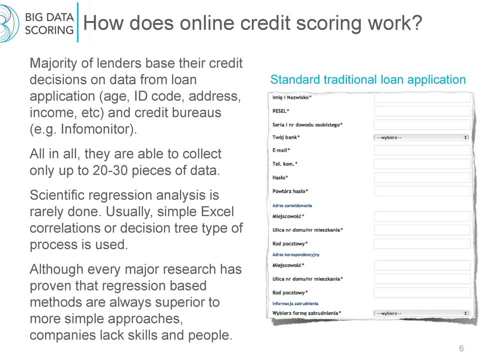 Standard traditional loan application All in all, they are able to collect only up to 20-30 pieces of data.