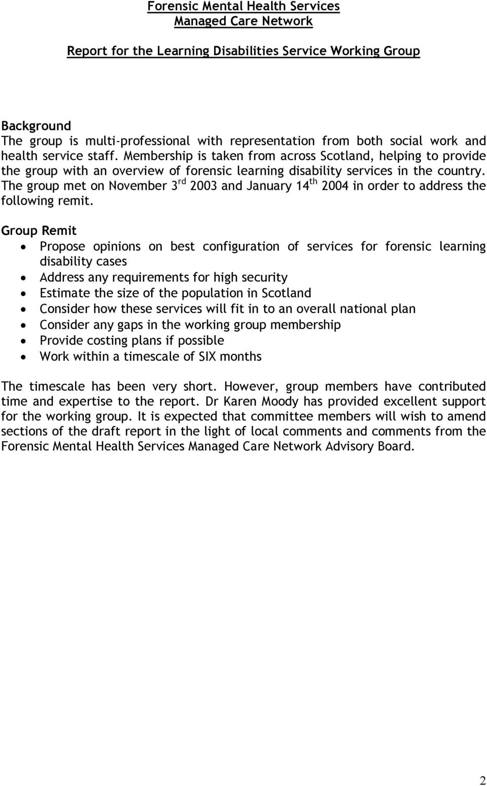 Forensic Mental Health Services Managed Care Network Report For The Learning Disabilities Service Working Group Pdf Free Download
