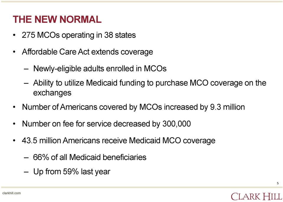 Number of Americans covered by MCOs increased by 9.