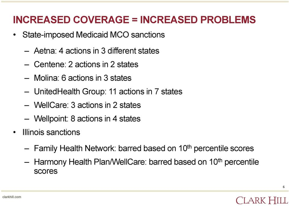 states WellCare: 3 actions in 2 states Wellpoint: 8 actions in 4 states Illinois sanctions Family Health