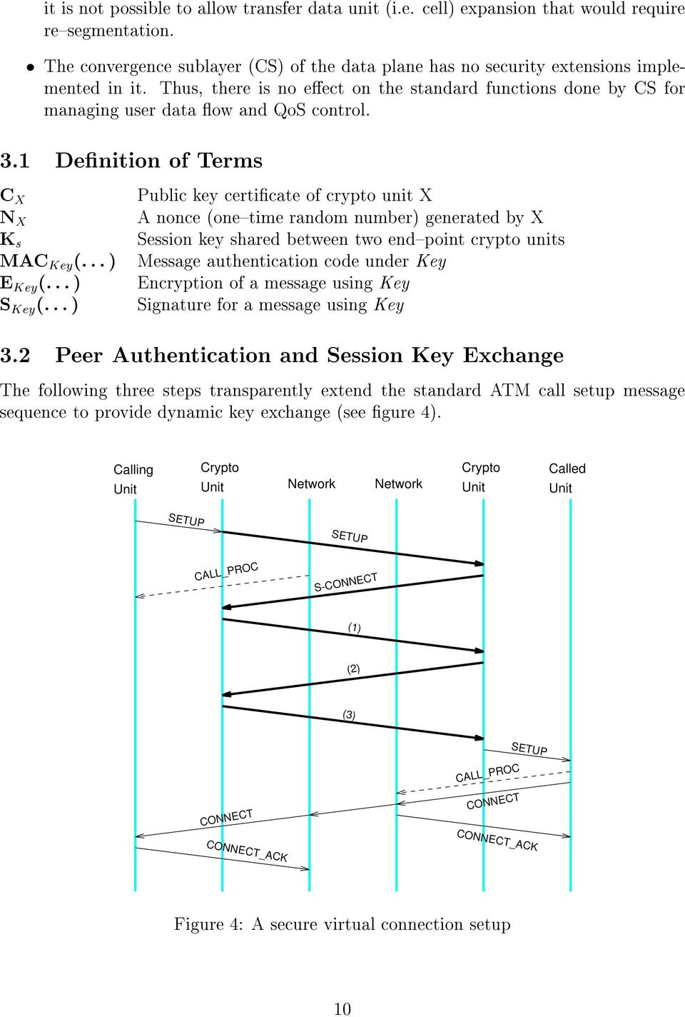 ..) Public key certicate of crypto unit X A nonce (one{time random number) generated by X Session key shared between two end{point crypto units Message authentication code under Key Encryption of a