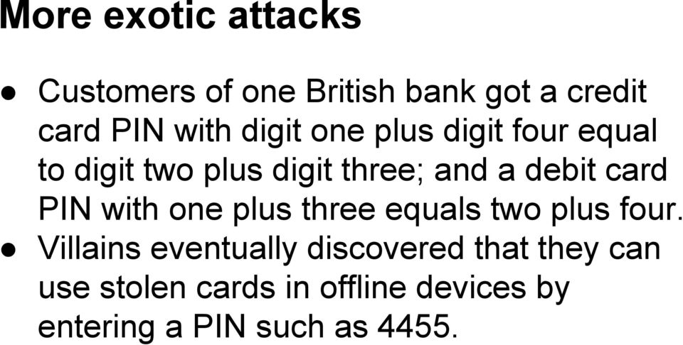 card PIN with one plus three equals two plus four.