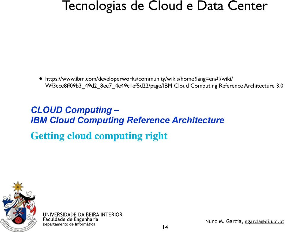 3.0 CLOUD Computing IBM Cloud Computing Reference Architecture Getting cloud computing right
