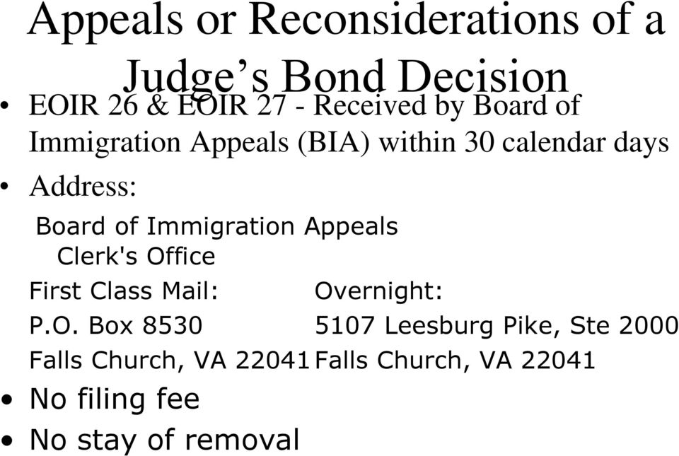 Immigration Appeals Clerk's Of