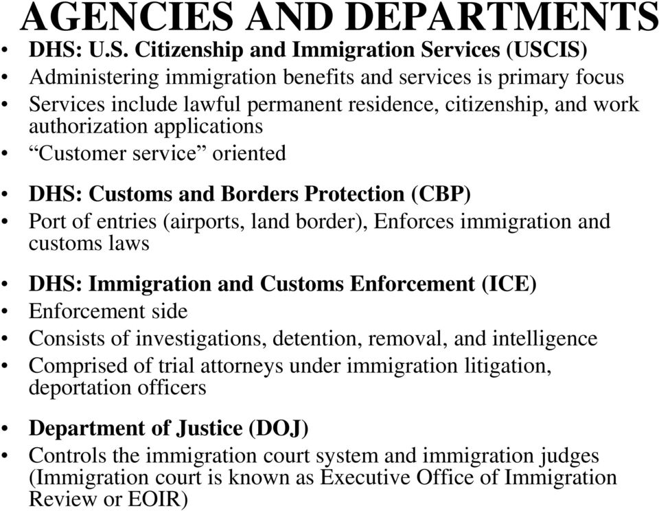 DHS: U.S. Citizenship and Immigration Services (USCIS) Administering immigration benefits and services is primary focus Services include lawful permanent residence, citizenship, and work