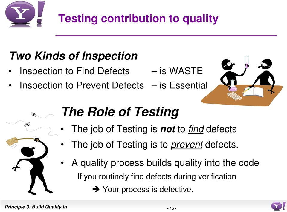 defects The job of Testing is to prevent defects.