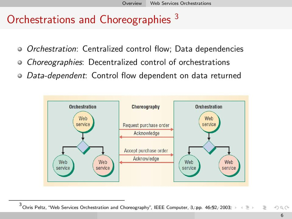 Decentralized control of orchestrations Data-dependent: Control flow dependent on