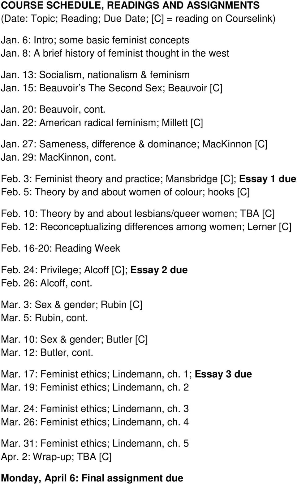 27: Sameness, difference & dominance; MacKinnon [C] Jan. 29: MacKinnon, cont. Feb. 3: Feminist theory and practice; Mansbridge [C]; Essay 1 due Feb.
