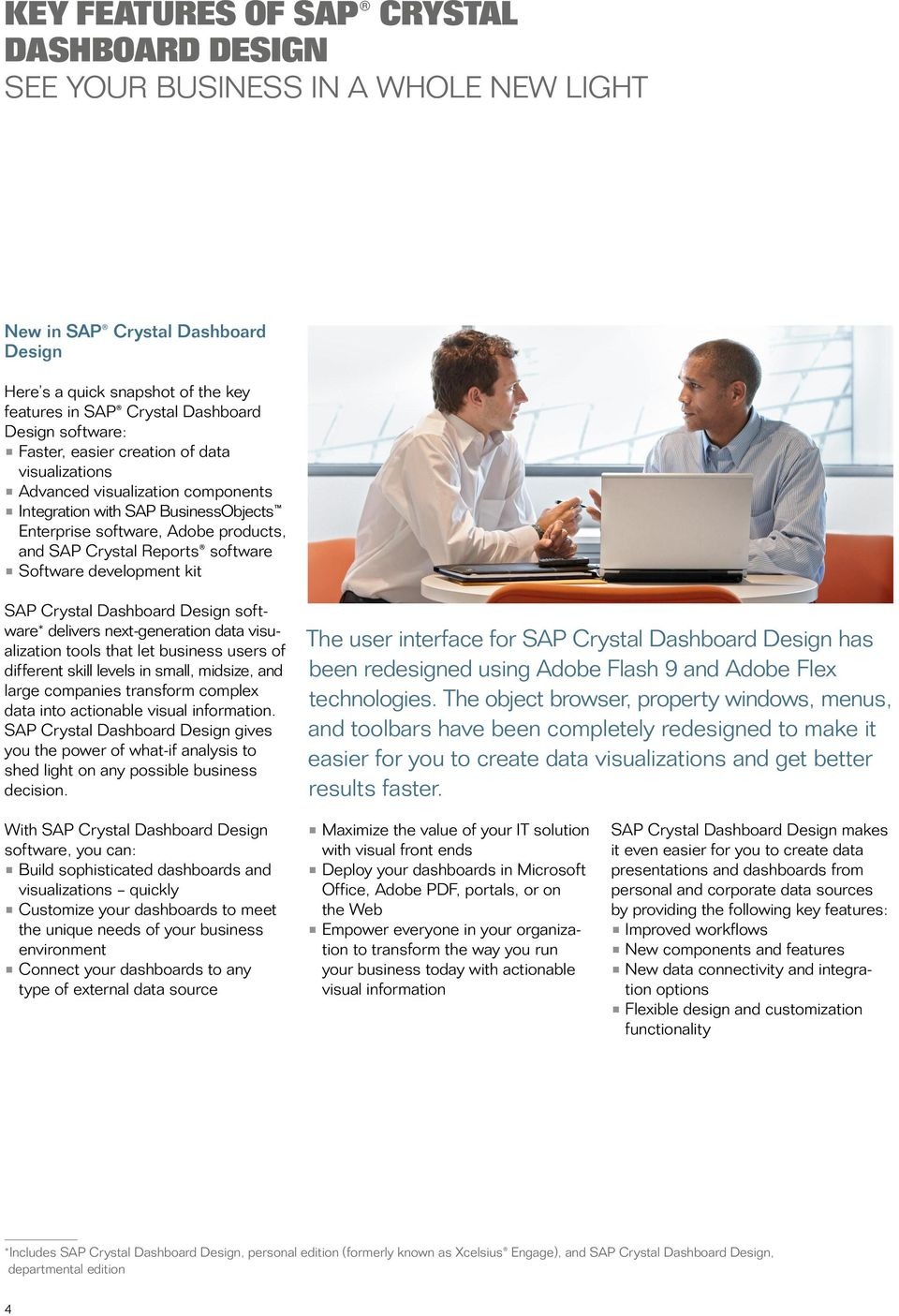Software development kit SAP Crystal Dashboard Design software* delivers next-generation data visualization tools that let business users of different skill levels in small, midsize, and large