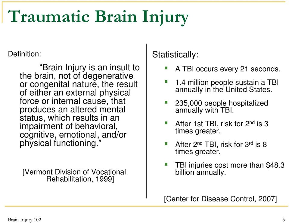 [Vermont Division of Vocational Rehabilitation, 1999] Statistically: A TBI occurs every 21 seconds. 1.4 million people sustain a TBI annually in the United States.