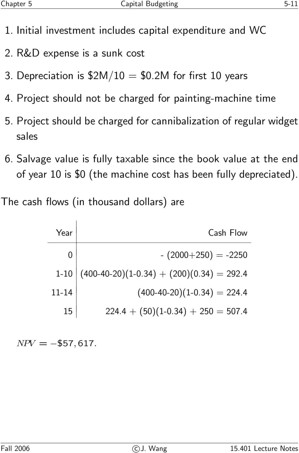 Salvage value is fully taxable since the book value at the end of year 10 is $0 (the machine cost has been fully depreciated).