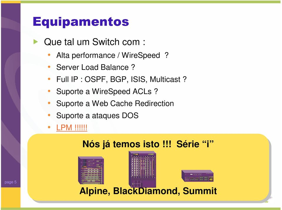 Suporte a WireSpeed ACLs?