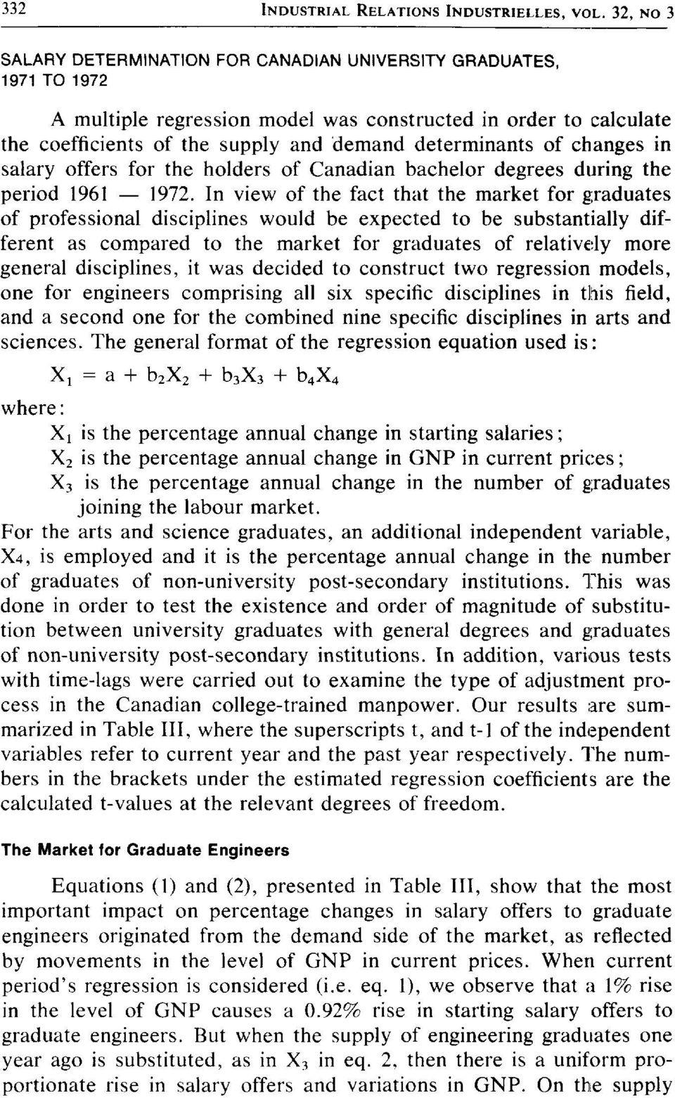 of changes in salary offers for the holders of Canadian bachelor degrees during the period 1961 1972.