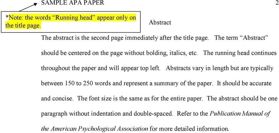 Abstracts vary in length but are typically between 150 to 250 words and represent a summary of the paper. It should be accurate and concise.