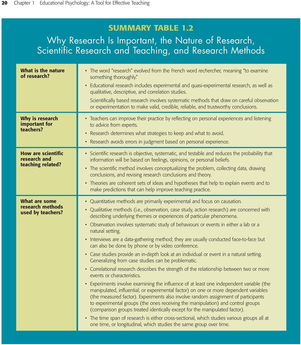 How are scientific research and teaching related? What are some research methods used by teachers? The word research evolved from the French word rechercher, meaning to examine something thoroughly.