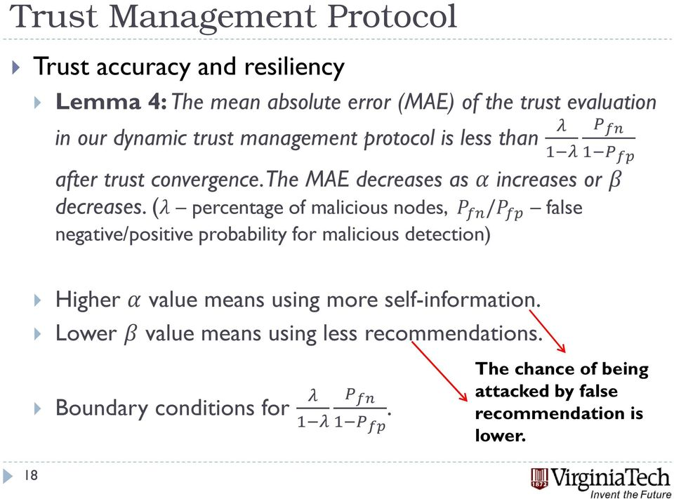 ( percentage of malicious nodes, / false negative/positive probability for malicious detection) Higher value means using more