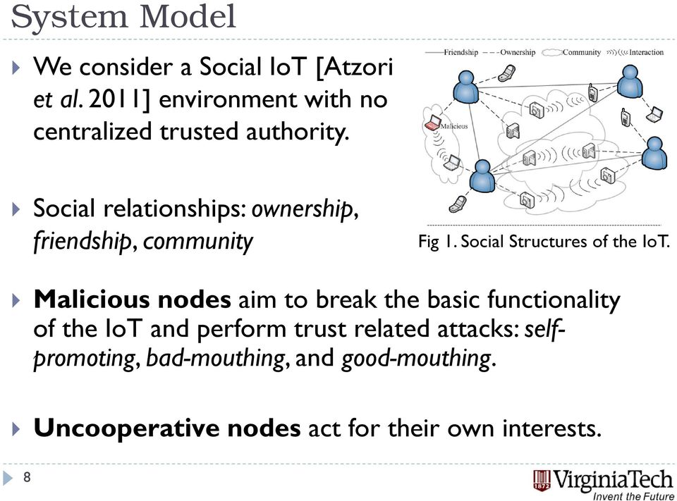 Social relationships: ownership, friendship, community Fig 1. Social Structures of the IoT.
