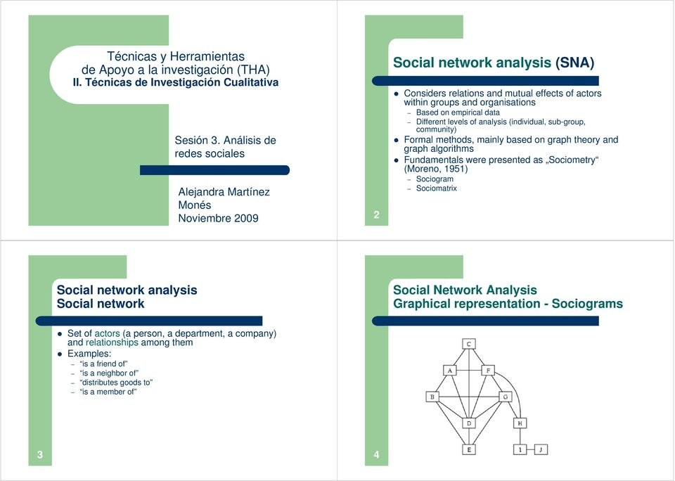 empirical data Different levels of analysis (individual, sub-group, community) Formal methods, mainly based on graph theory and graph algorithms Fundamentals were presented as Sociometry (Moreno,