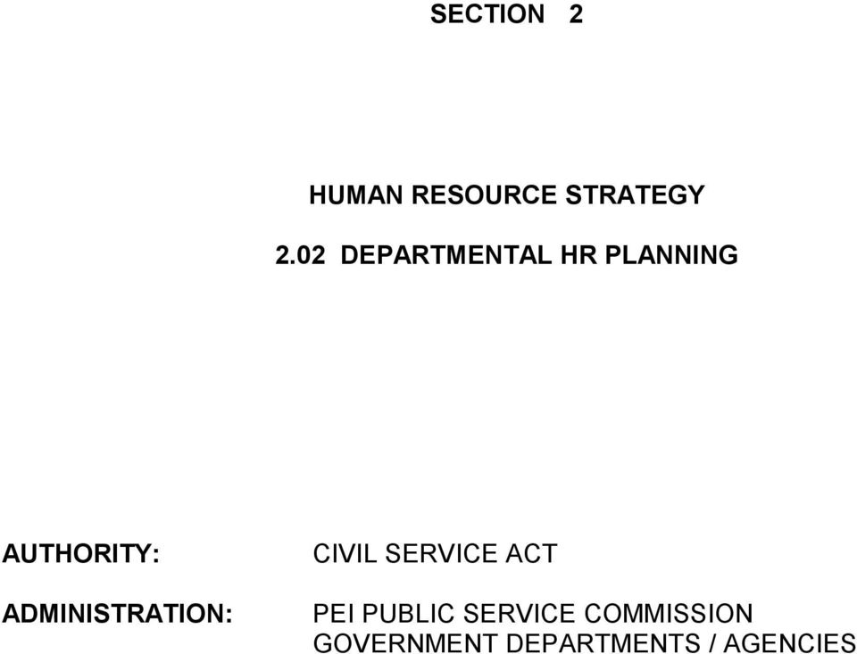 ADMINISTRATION: CIVIL SERVICE ACT PEI