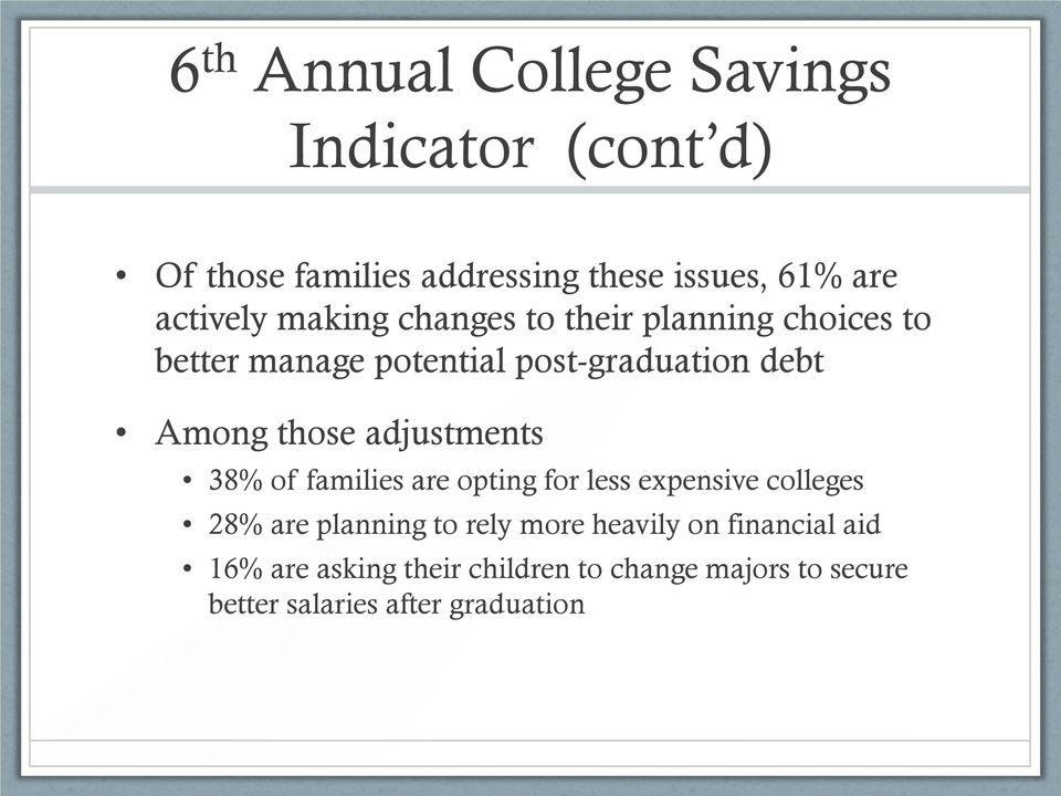 those adjustments 38% of families are opting for less expensive colleges 28% are planning to rely more