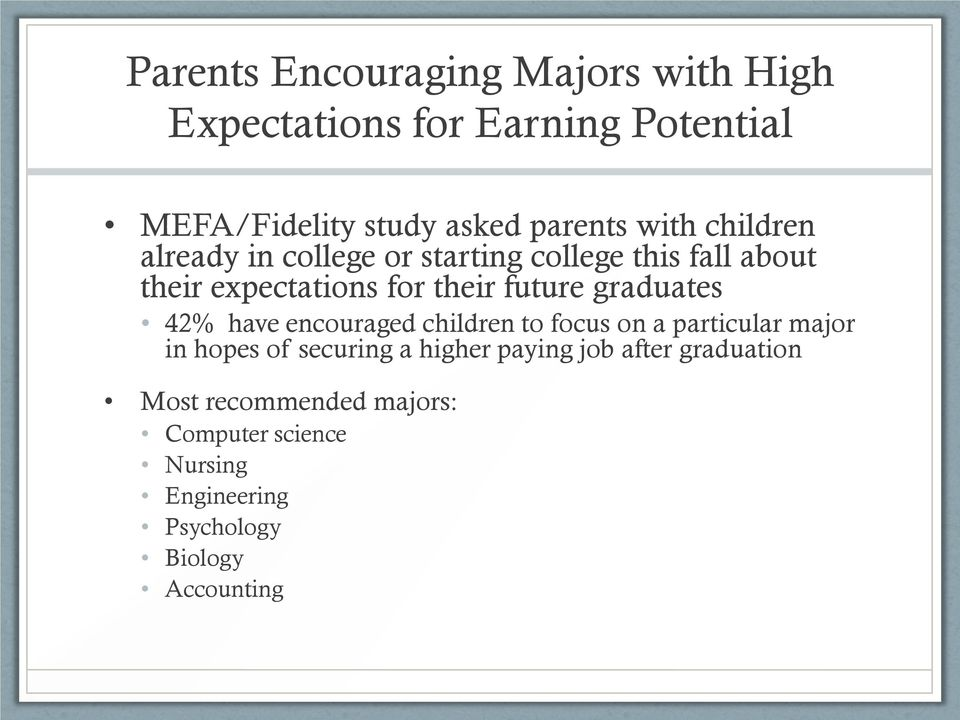 graduates 42% have encouraged children to focus on a particular major in hopes of securing a higher paying