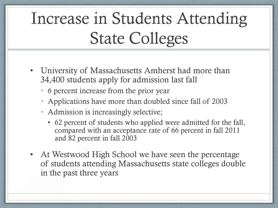 percent of students who applied were admitted for the fall, compared with an acceptance rate of 66 percent in fall 2011 and 82 percent in