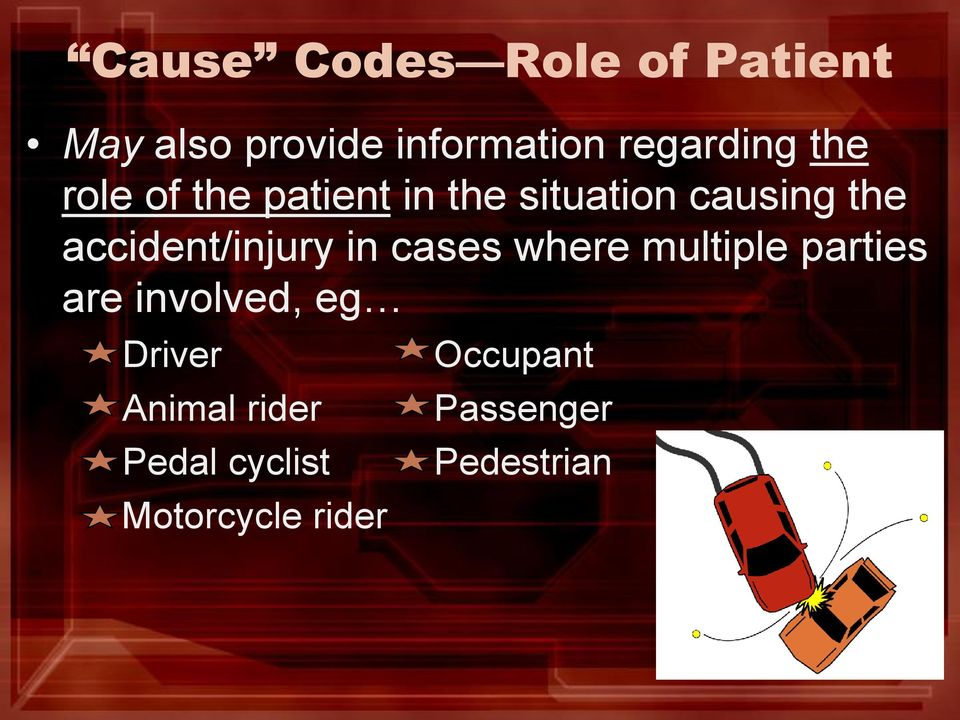 accident/injury in cases where multiple parties are involved, eg