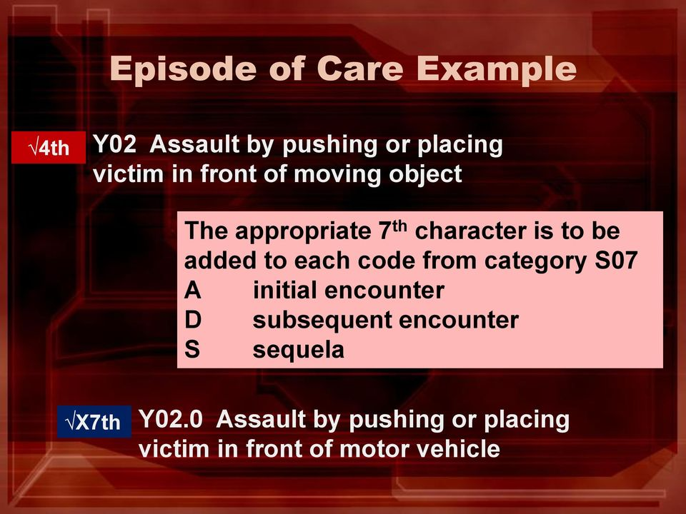 each code from category S07 A initial encounter D subsequent encounter S