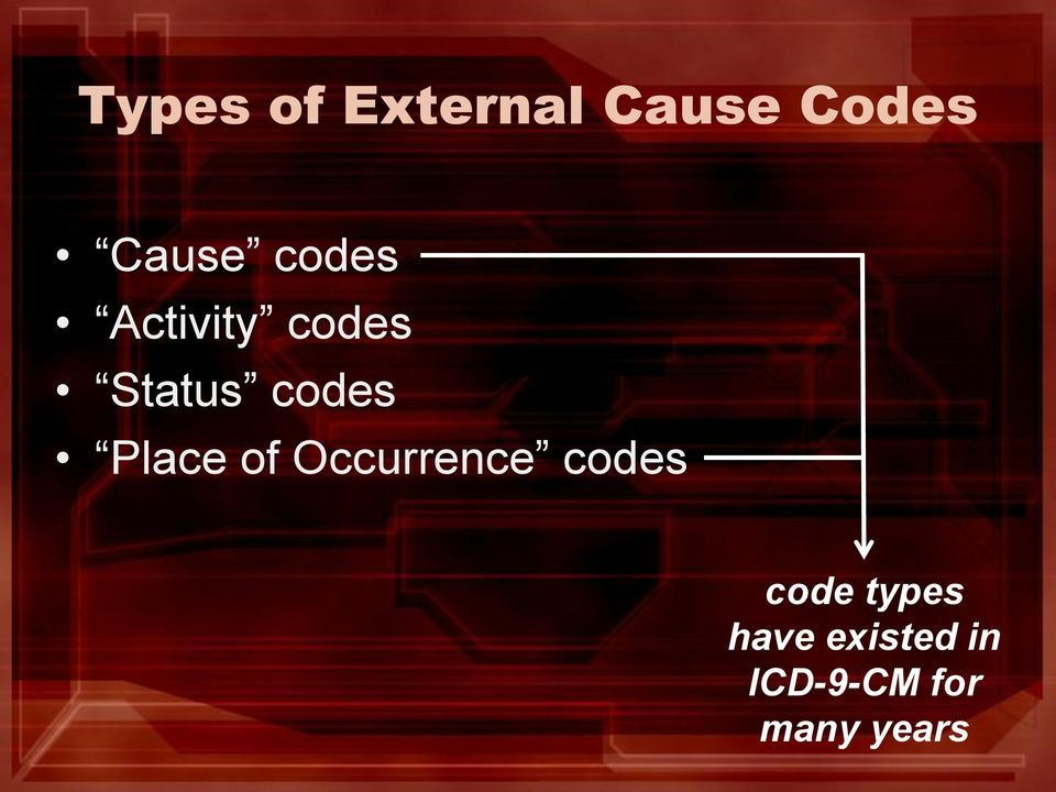 Place of Occurrence codes code types