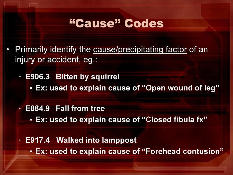 3 Bitten by squirrel Ex: used to explain cause of Open wound of leg ٠ E884.