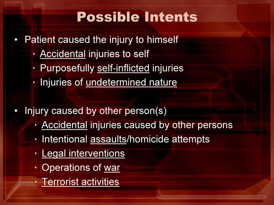 by other person(s) ٠ Accidental injuries caused by other persons ٠ Intentional