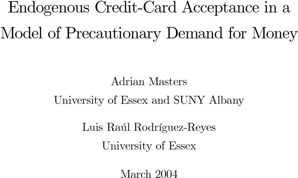 Masters University of Essex and SUNY Albany