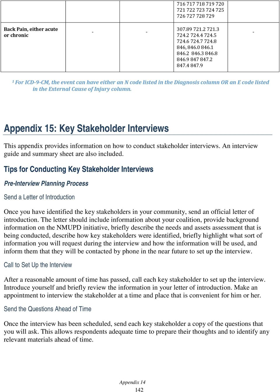 Appendix 15: Key Stakeholder Interviews This appendix provides information on how to conduct stakeholder interviews. An interview guide and summary sheet are also included.