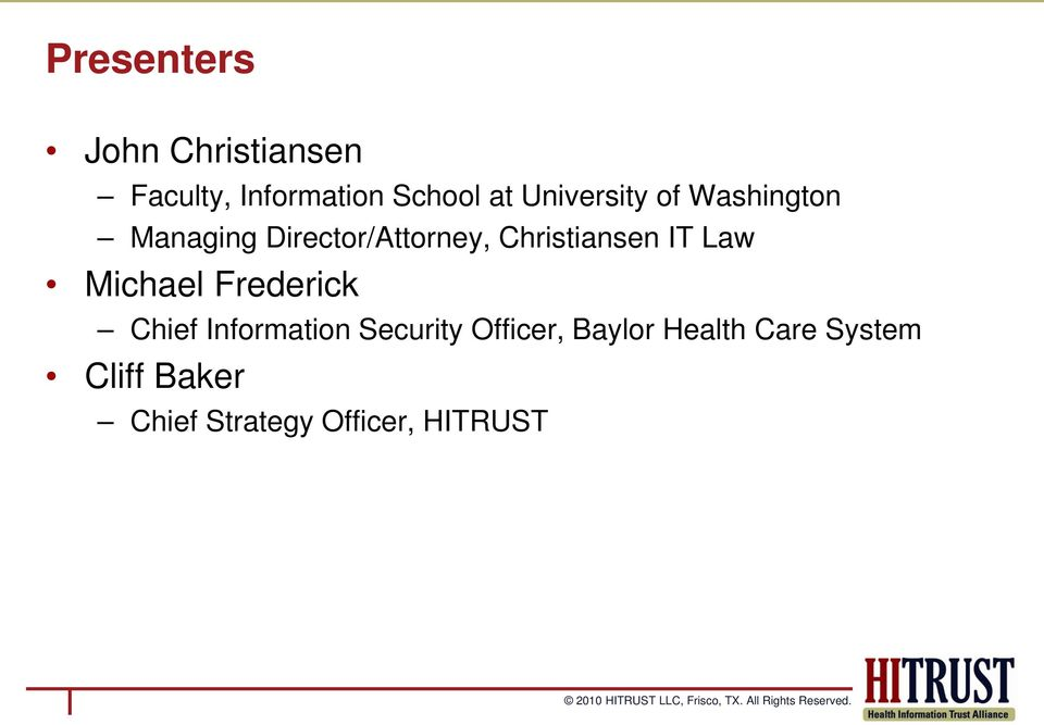 Christiansen IT Law Michael Frederick Chief Information
