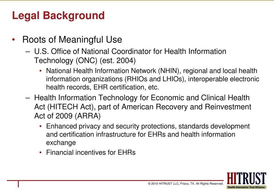 records, EHR certification, etc.