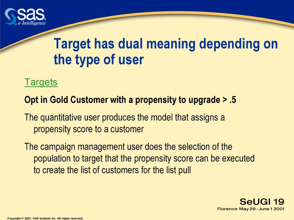 5 The quantitative user produces the model that assigns a propensity score to a customer The