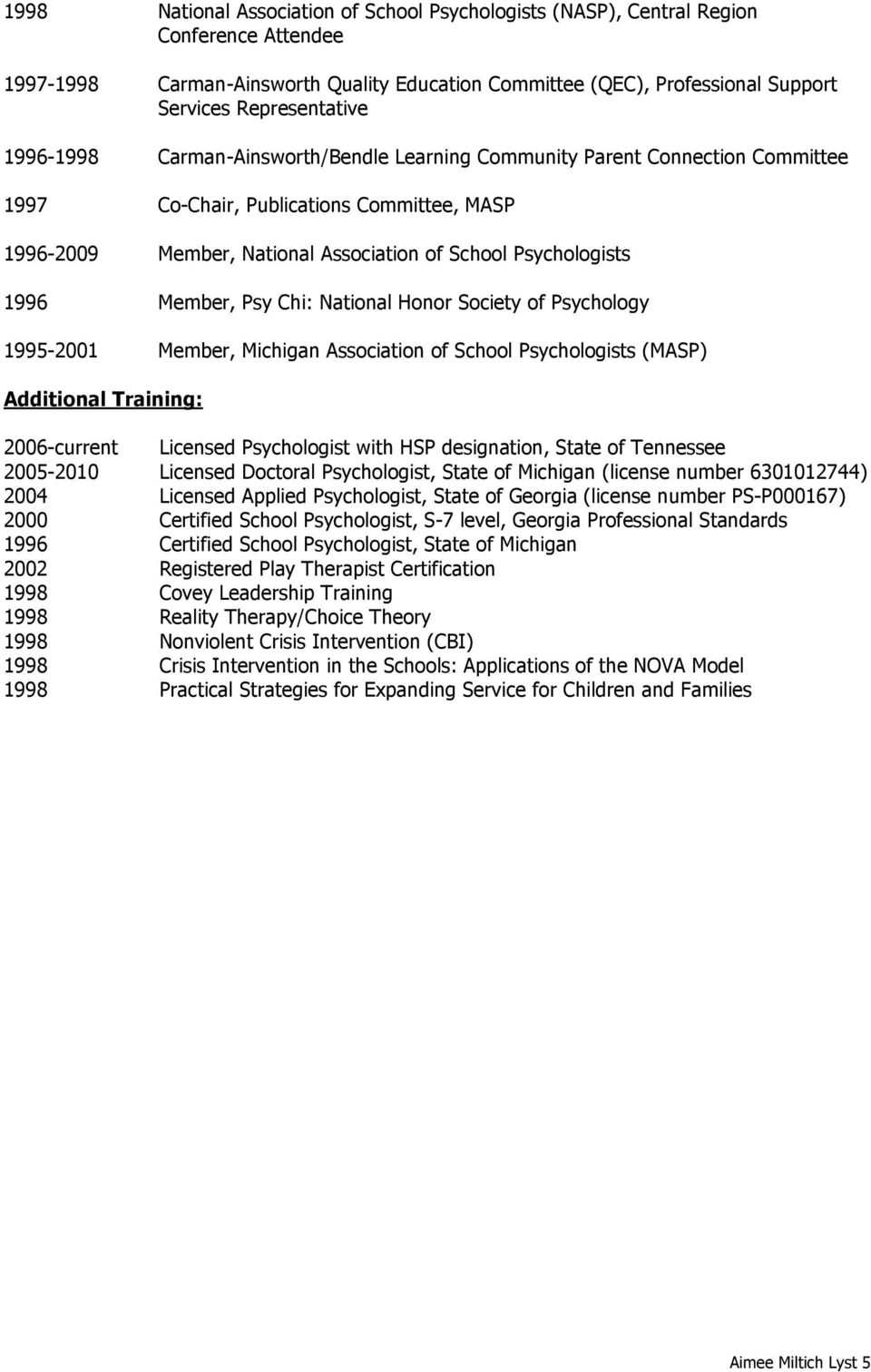 Member, Psy Chi: National Honor Society of Psychology 1995-2001 Member, Michigan Association of School Psychologists (MASP) Additional Training: 2006-current Licensed Psychologist with HSP