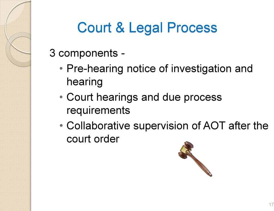hearing Court hearings and due process