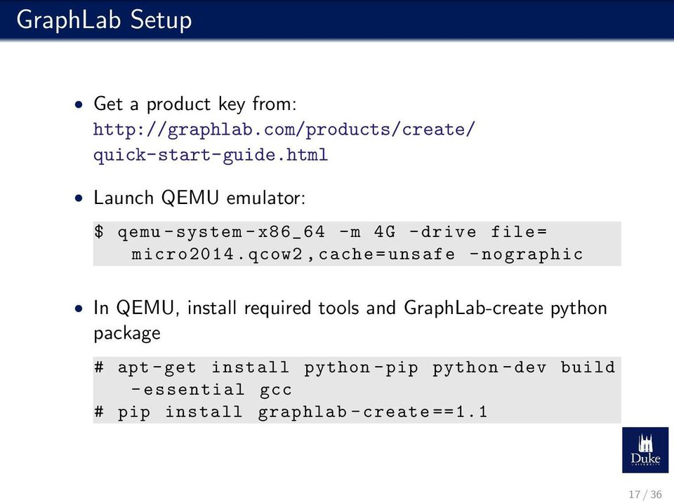 qcow2, cache = unsafe - nographic In QEMU, install required tools and GraphLab-create python