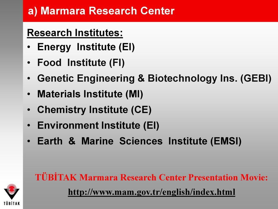 (GEBI) Materials Institute (MI) Chemistry Institute (CE) Environment Institute (EI)