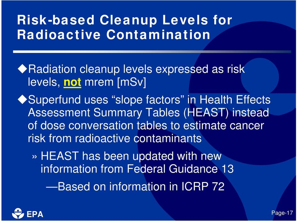 (HEAST) instead of dose conversation tables to estimate cancer risk from radioactive contaminants»