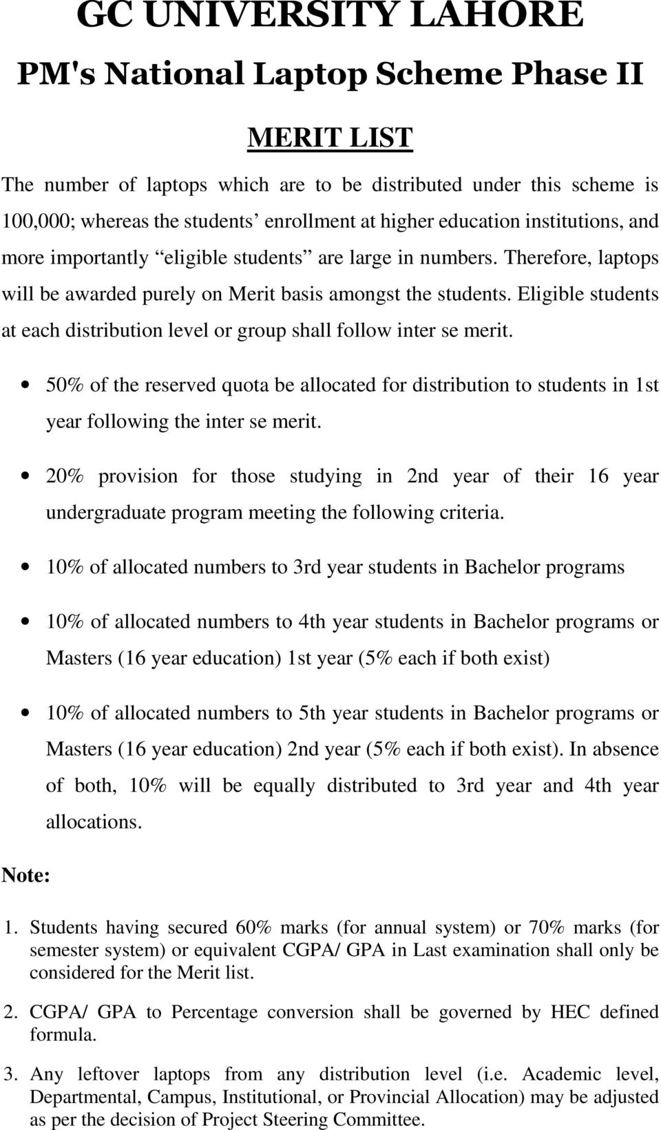 50% of the reserved quota be allocated for distribution to students in 1st year following the inter se merit.